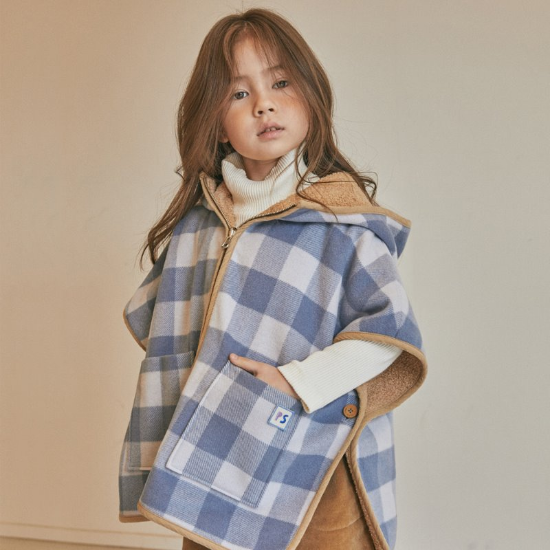 Mary Check Reversible Poncho