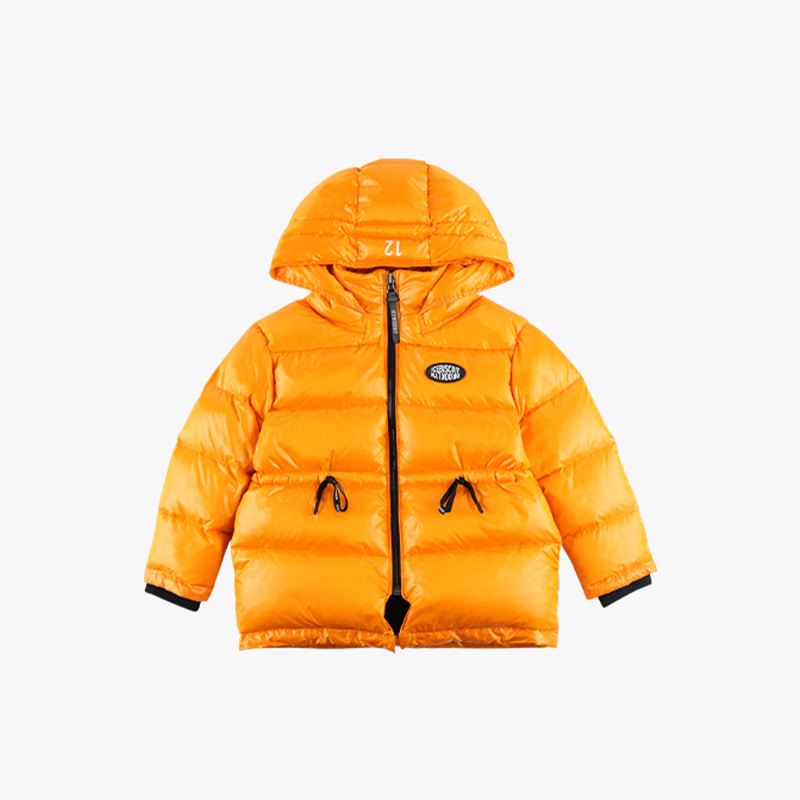 Logo patch hooded down jacket