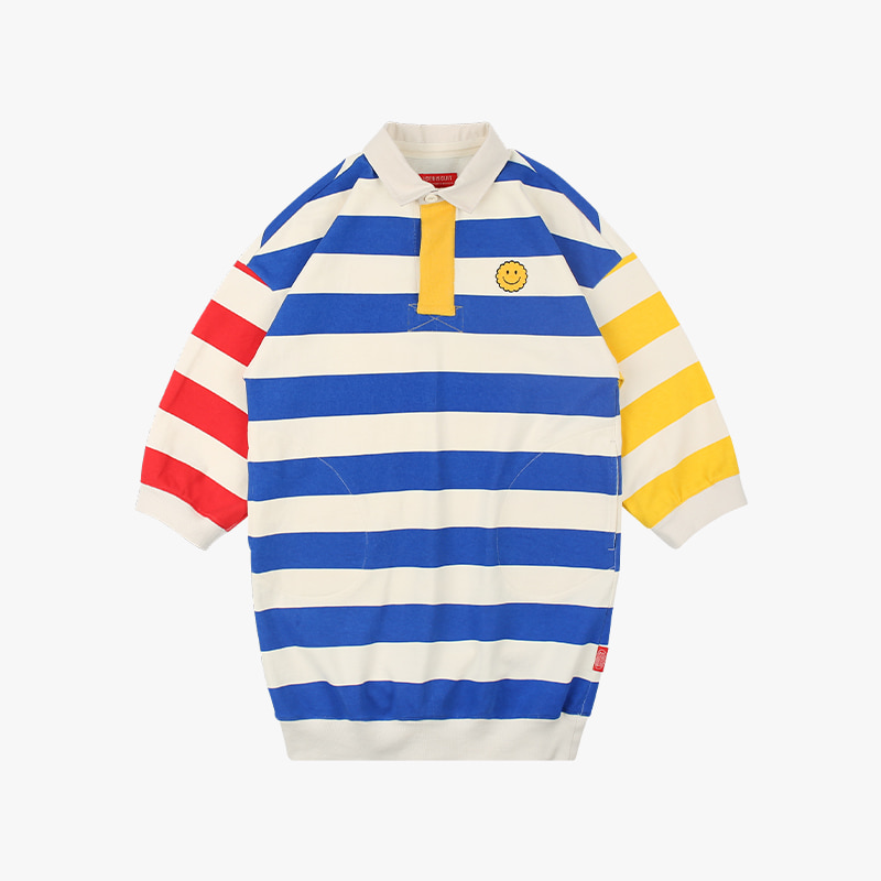 Color block stripe rugby dress