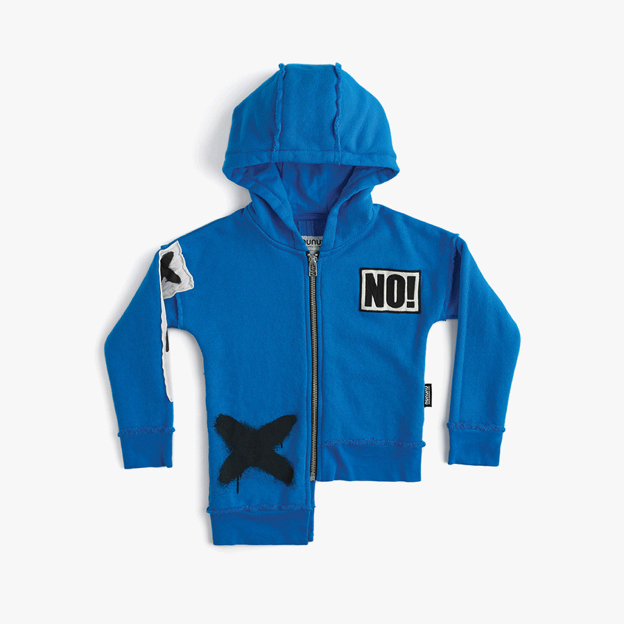 Unbalanced patch zip hoodie (kids)