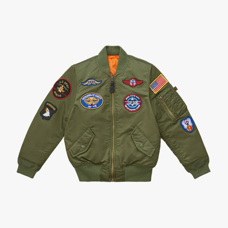 YOUTH MA-1 WITH PATCHES (SAGE)