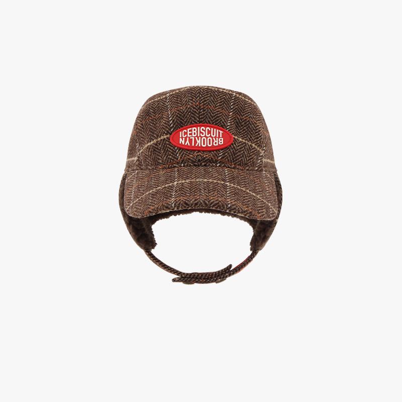 Icebiscuit symbol logo wool check hunting cap