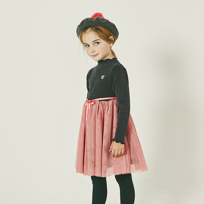 Ribbon Tulle dress _ charcoal