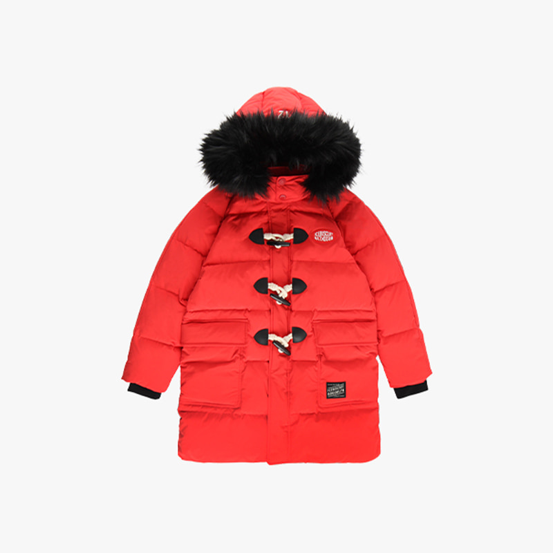 Logo patch quilted down duffle coat