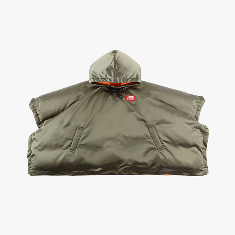 Icebiscuit logo patch hooded down poncho