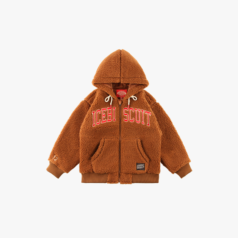 Icebiscuit-embroidered sherpa fleece hooded zip-up