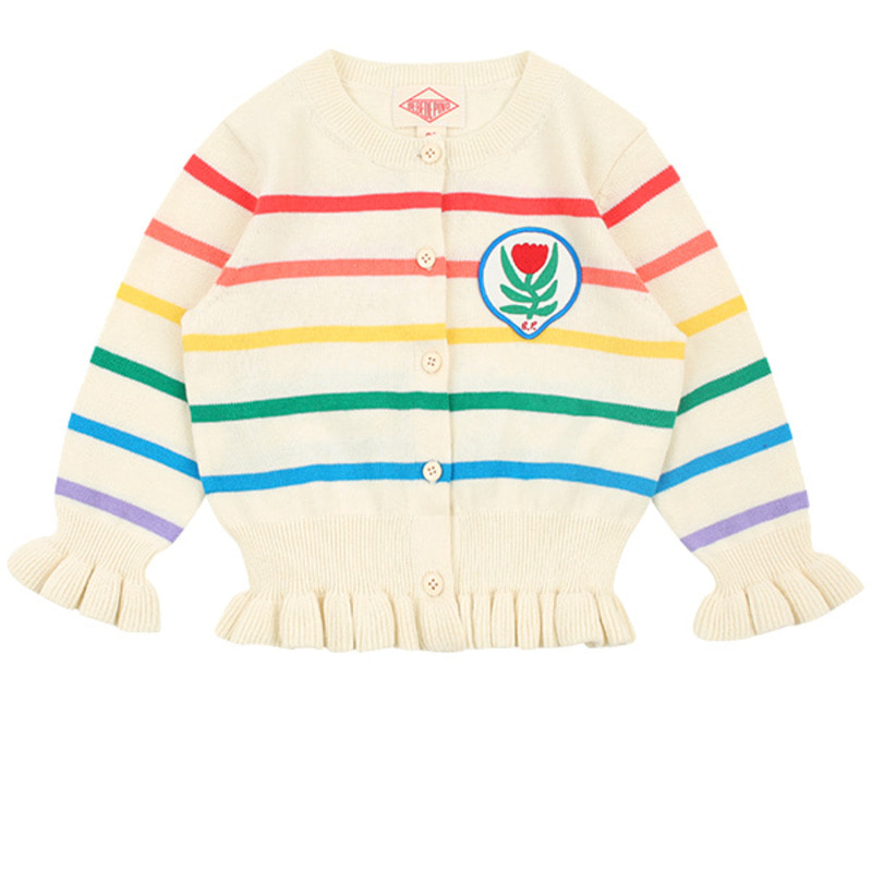 Multi stripe tulip baby ruffle sweater cardigan