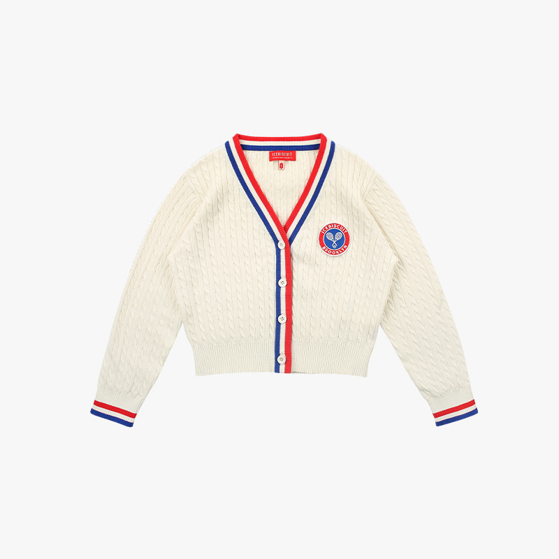 Icebiscuit tennis emblem cropped cable cardigan