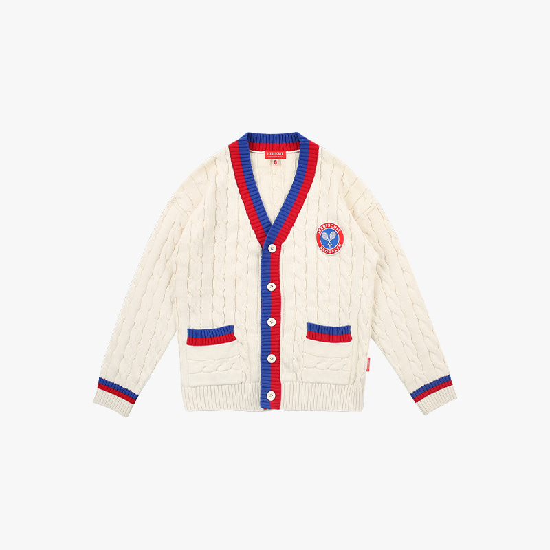 Icebiscuit tennis emblem cable cardigan