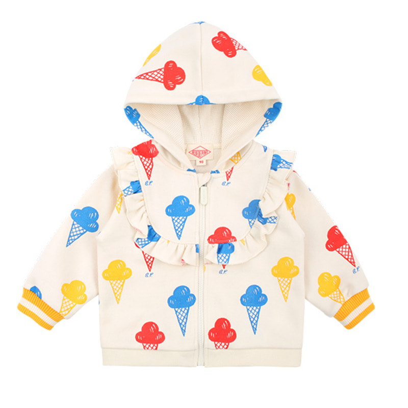 Multi ice cream baby ruffle zip up jacket