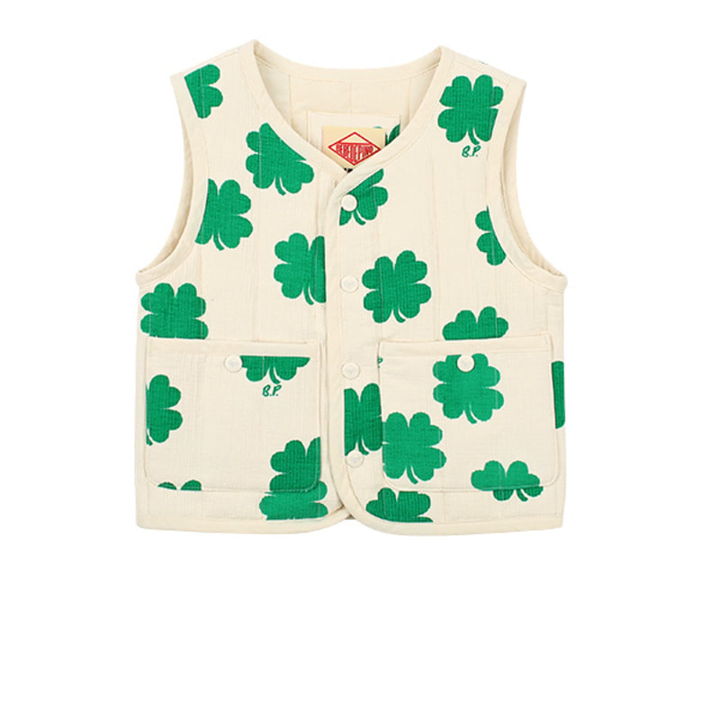 Multi clover quilted cotton vest