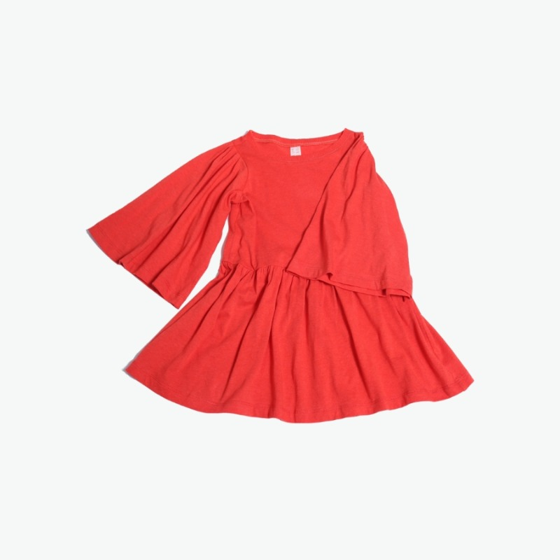 캐리마켓 -  Flounce sleeve dress (Red) 10Y-14Y