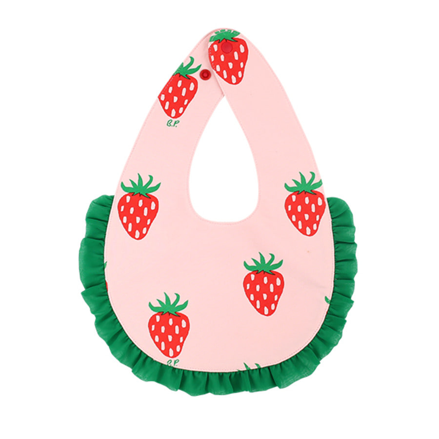 All over strawberry baby ruffle bib