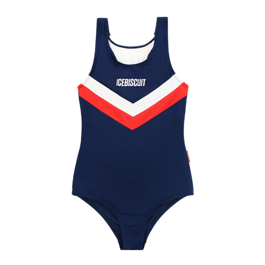 Icebiscuit color block one-piece swimsuit