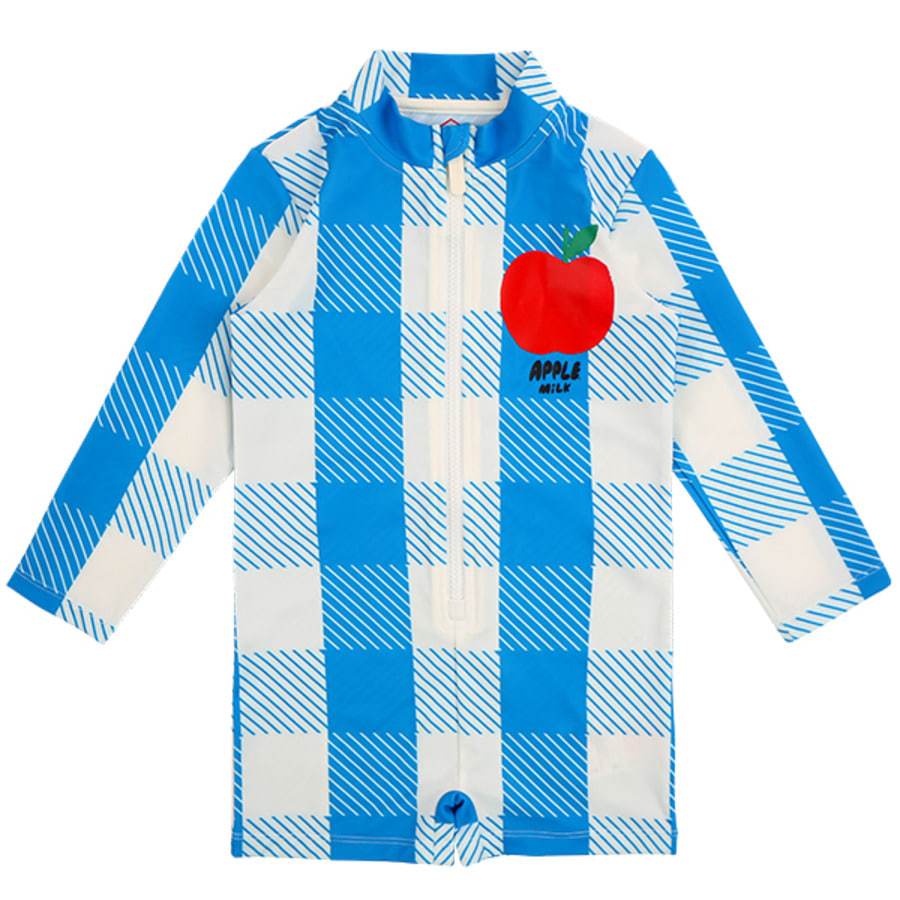 All over blue shepherd check kids swim suit