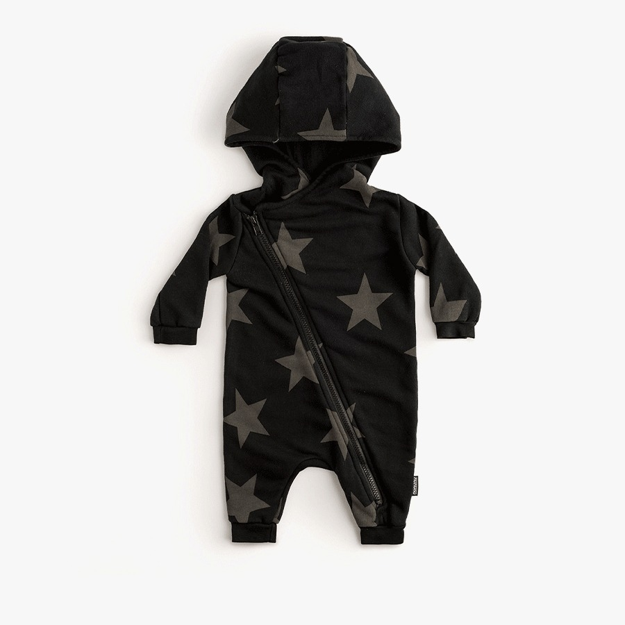 Asymmetrical zip star hooded overall (new born)