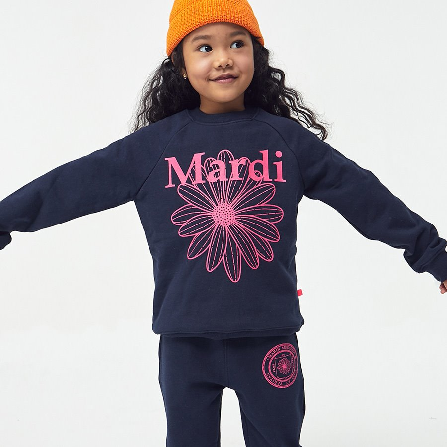 캐리마켓 -  KIDS-SWEAT-FLOWER MARDI-NAVY