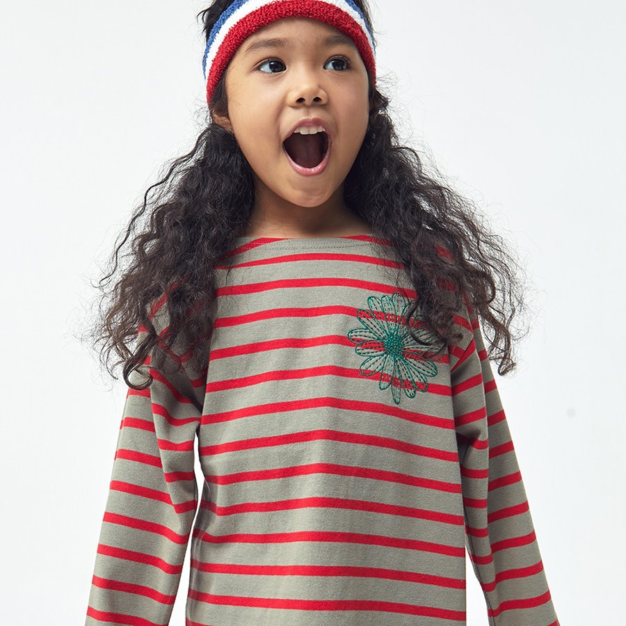 캐리마켓 -  KIDS-LONG SLEEVE-STRIPE-KHAKI